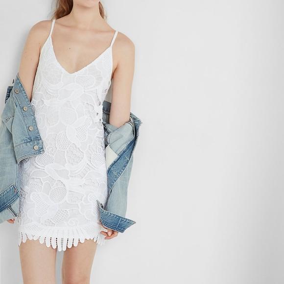 Express Dresses & Skirts - White Lace Inset Trapeze Dress